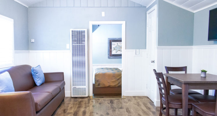 Gull Cottage has a kitchen, living and dining area. Sleeps four and is pet friendly.