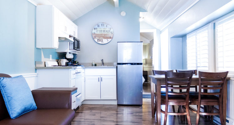 Pelican Cottage offers a full kitchen, Queen bed, sleeper sofa, and private bath. Not pet friendly.