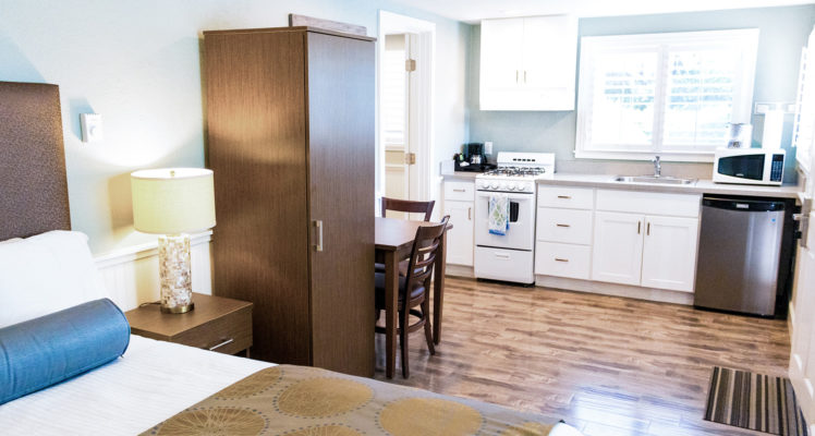 Sea Breeze Room has a full kitchen, sleeps two and is dog friendly.