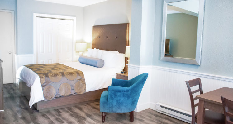 Sea Otter room offers a Queen bed, full kitchen and is pet friendly.
